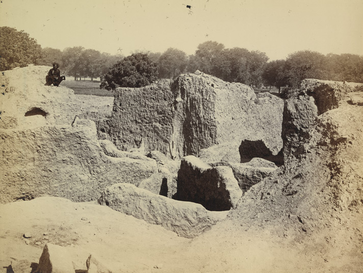 View of the Jain stupa as excavated, Kankali Tila, Mathura